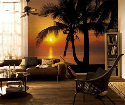 Palmy beach Sunrise wall mural wallpaper